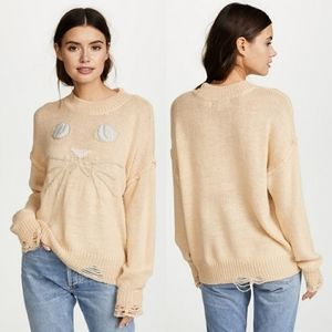 Wildfox Distressed Oversized Cat Sweater | Small
